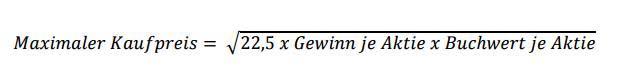 Die Formel für Value Investing nach Benjamin Graham zeigt, wo der maximale Kaufpreis für den Privatinvestor liegen darf.